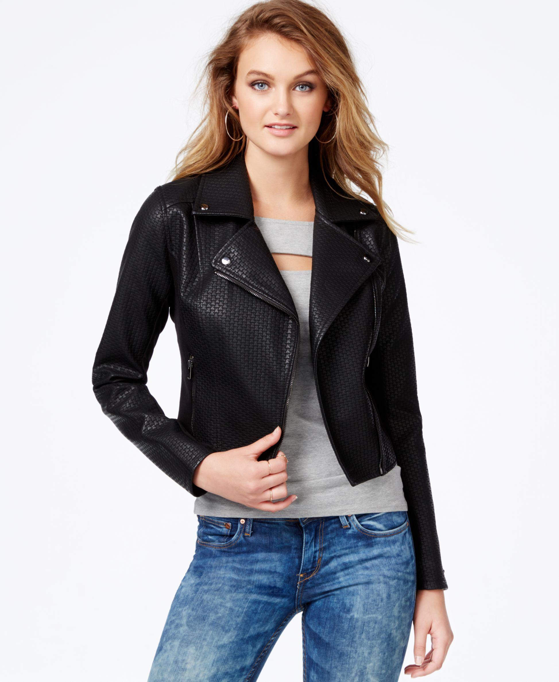 Guess FauxLeather BasketWeave Moto Jacket Black