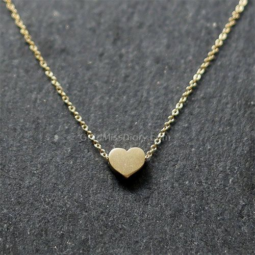 Gold Heart Necklace    Very cute and simple Heart pendant hangs on a Sterling Silver or Gold Filled chain with the length of your choice.  This is