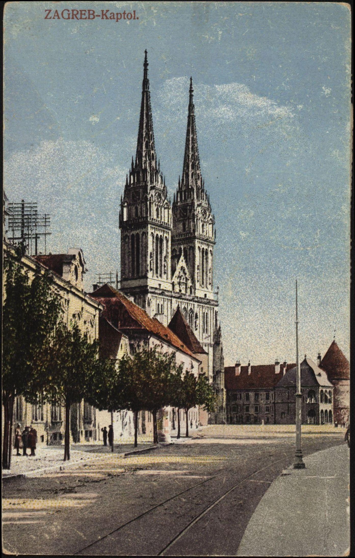 Stara Razglednica Zagreba S Motivom Katedrala Uznesenja Blazene