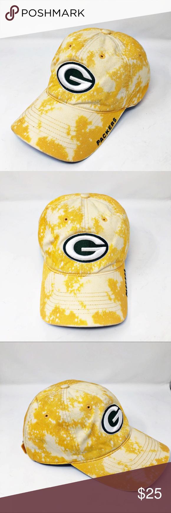 Reebok Green Bay Packers Bleach Splatter Hat Reebok Fitted Baseball Caps Green Bay