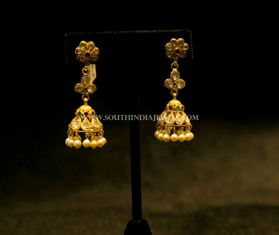 Simple Gold Jhumka Design   Gold, Antique coins and Ear rings