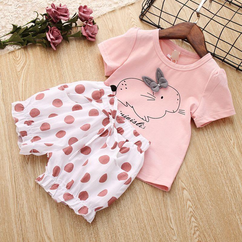 Bowknot Short Pants Outfits Set Girl Child Toddler Kids Polka Dot T-shirt Tops