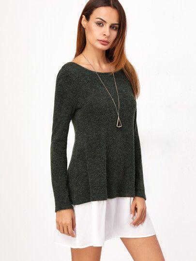Dark Green Contrast Trim Long Sleeve Sweater Dress Only AU$12.16