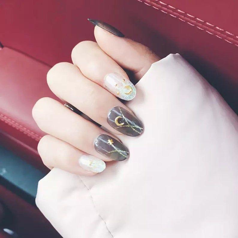 Shining Star Moon Designsfake Nails Faux Nails Glue On Etsy In 2020 Nail Art Hacks Fake Nails Jade Nails