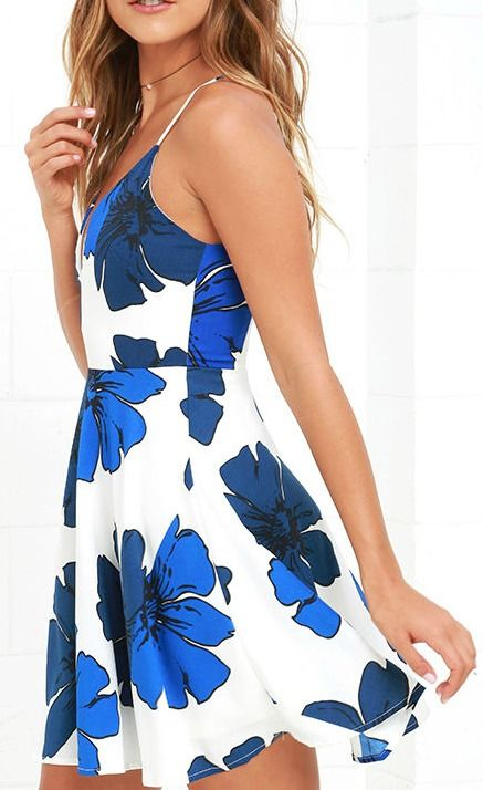 4d5bfd2fdc582 Pretty Pop Blue and Ivory Floral Print Skater Dress | Best of New | Dresses,  Fashion, Everyday dresses