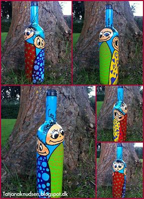 Funny people painted on bottles.