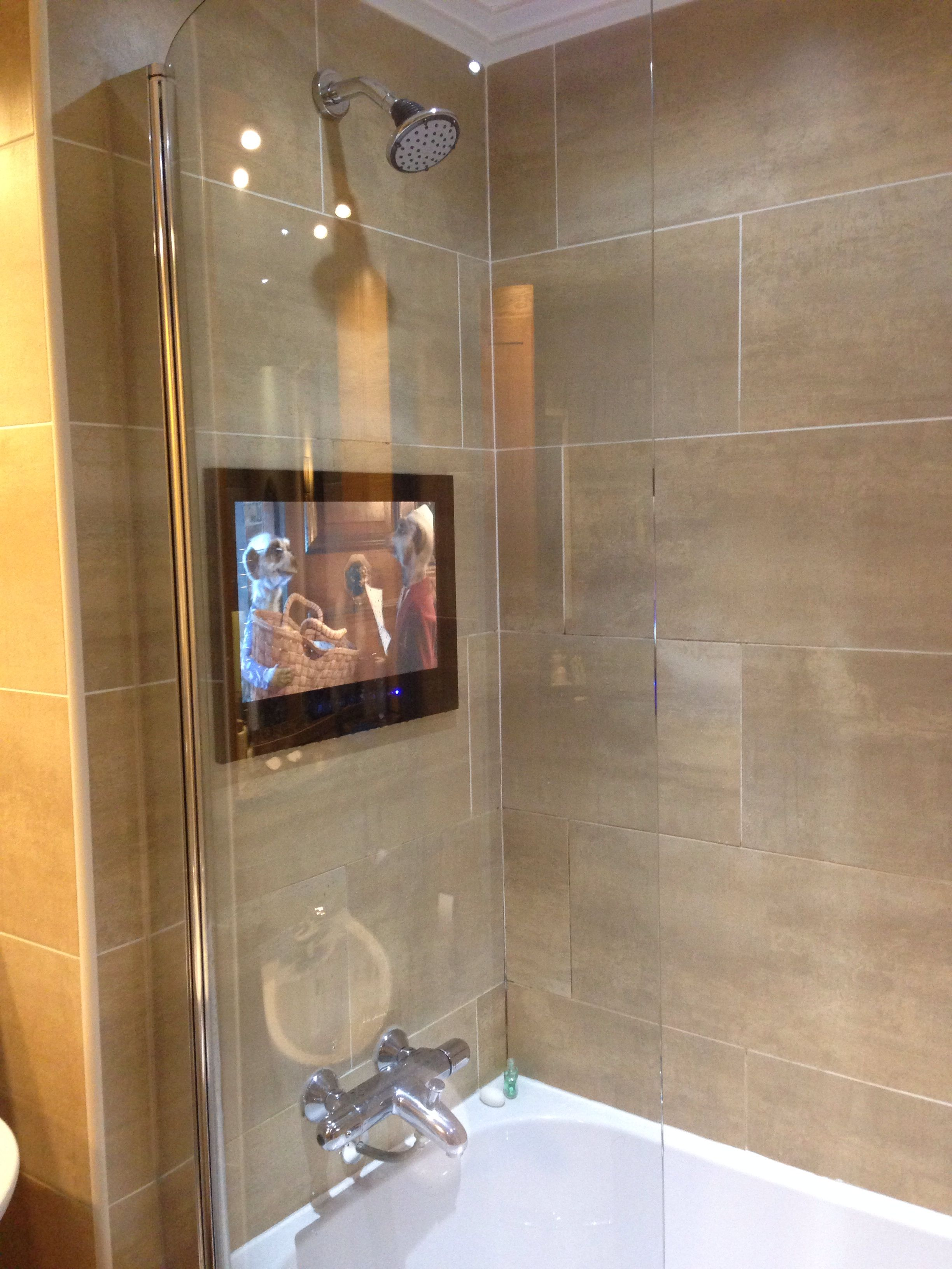My Fiance Wants A Tv In The Shower For What I Have No Idea Lol Bathroom Mirror Design Bathroom Remodel Designs Spa Inspired Bathroom