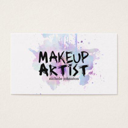 #makeupartist #businesscards - #chic modern makeup artist watercolor purple grunge business card