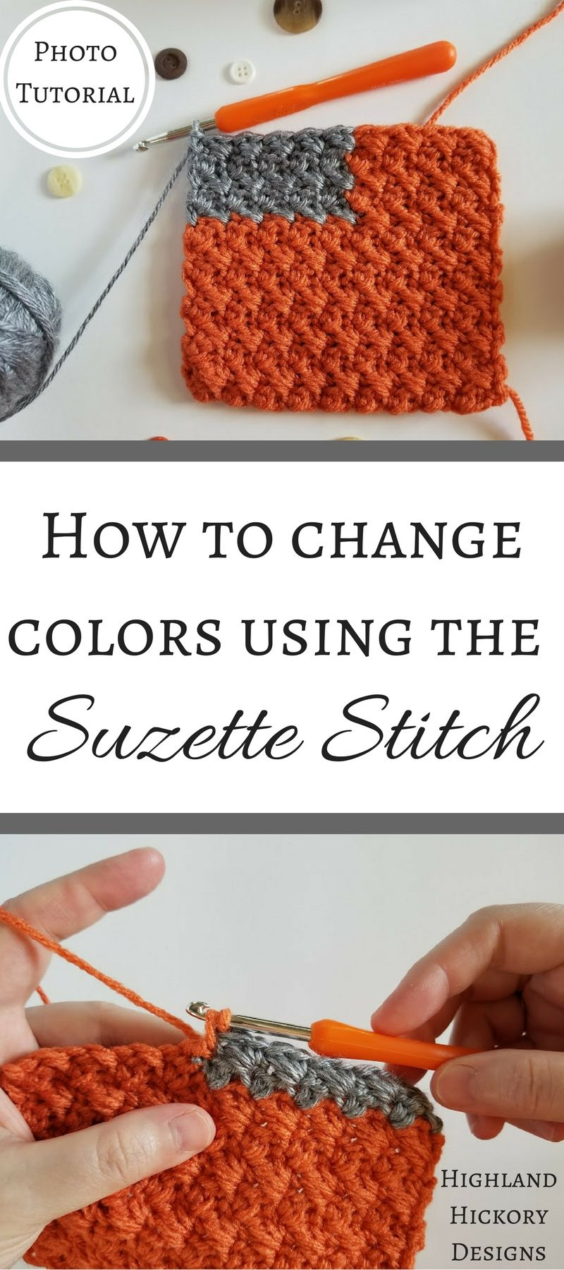 How To Change Colors Using The Suzette Stitch | Puntadas, Tejido y ...