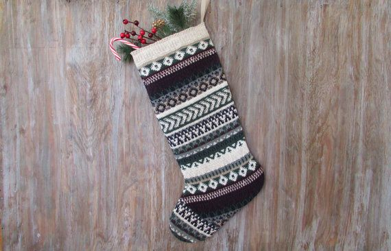 Christmas Stocking, Graphic Deep Green and Burgundy, created from a recycled knitted vintage sweater