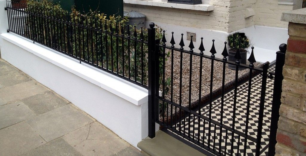 Elegant London Front Garden Wall And Metal Gate And Rail With Victorian Mosaic Tile  Path In Black
