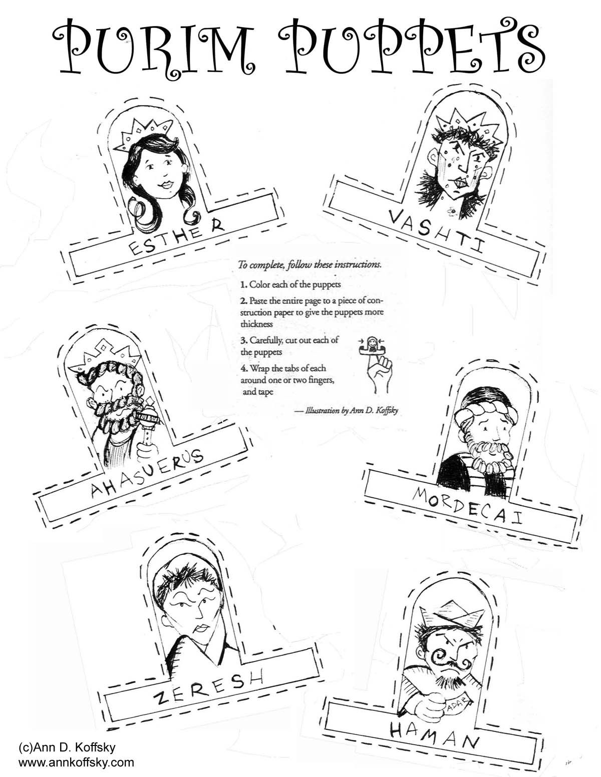 Printable coloring pages of queen esther - Purim Coloring Page By Ann D Koffsky Queen Estherkids