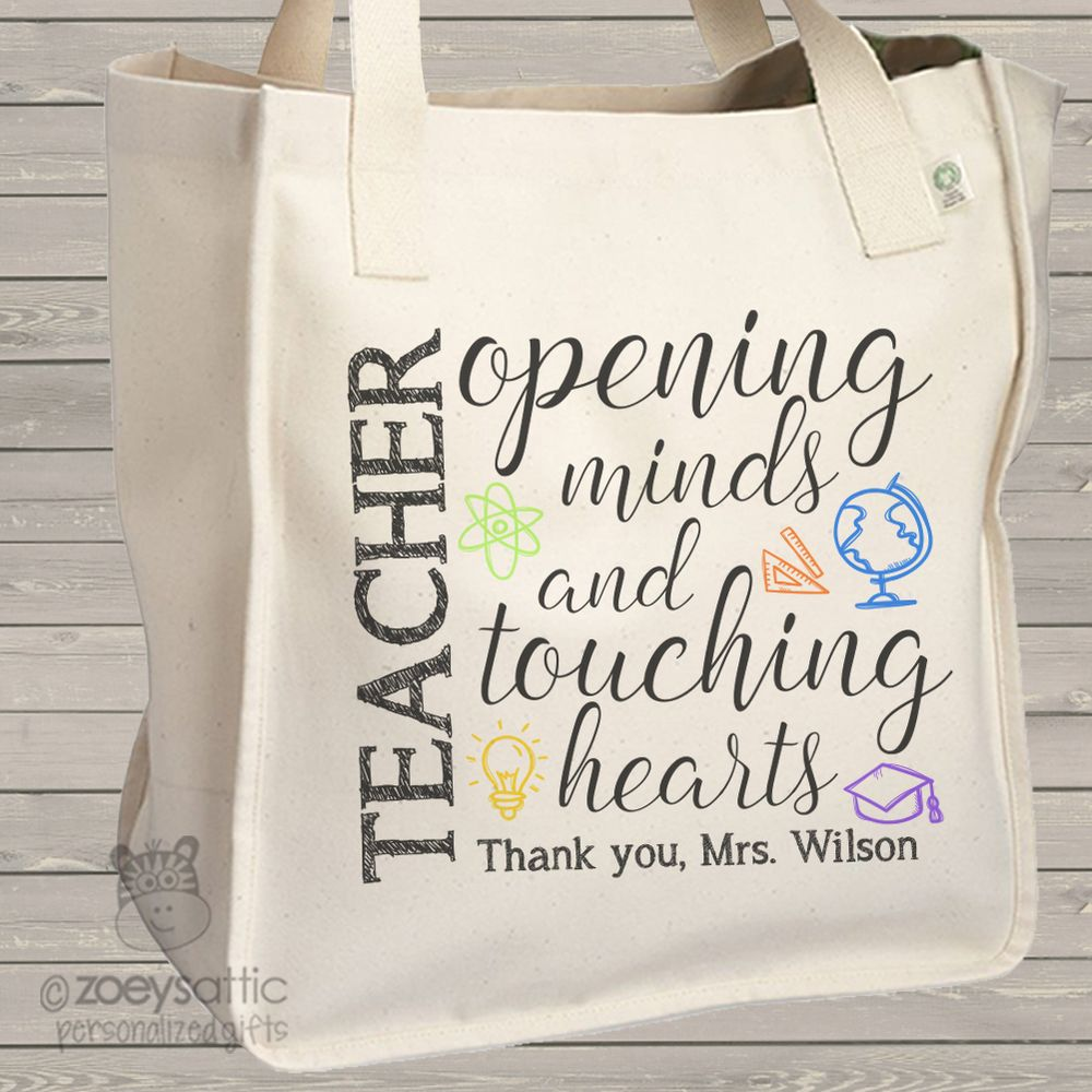Swanky Teacher Tote Touching Hearts Personalized Teacher Gift Teacher Opening S Tote Bag Teacher Tote Personalized Personalized Teacher Gifts Ideas Personalized Teacher Gifts Under 5 gifts Personalized Teacher Gifts