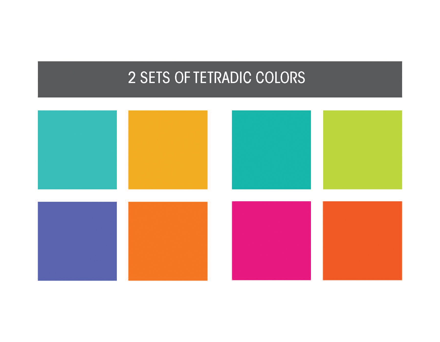 Tetradic Colors Combinations Of 4 That Form A Rectangle Or Square Across From Each