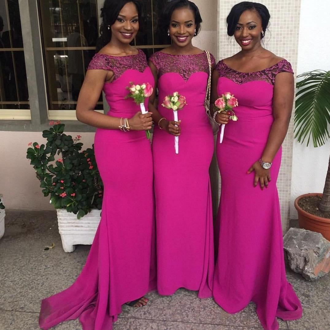 2016 New South African Mermaid Bridesmaid Dresses Cap Sleeves Lace Satin Formal  Party Dresses For Wedding Ruched Fushia Maid Of Honor Gowns Funky Bridesmaid  ... 89e0c42e678c