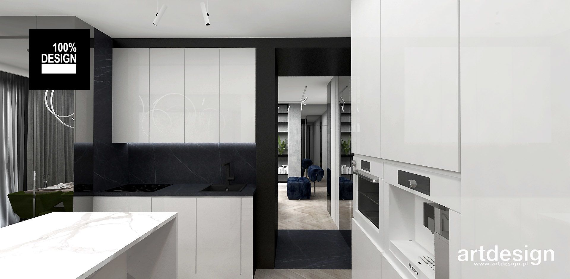 Nowoczesna Kuchnia Wyspa W Kuchni Drewniane Meble Zielone Akcenty W Kuchni White Modern Kitchen Home Decor House Styles