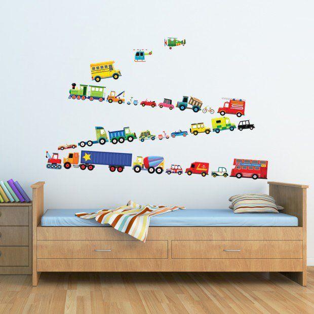 stickers chambre b b et enfant id es pour les gar ons moyen de transport stickers chambre. Black Bedroom Furniture Sets. Home Design Ideas