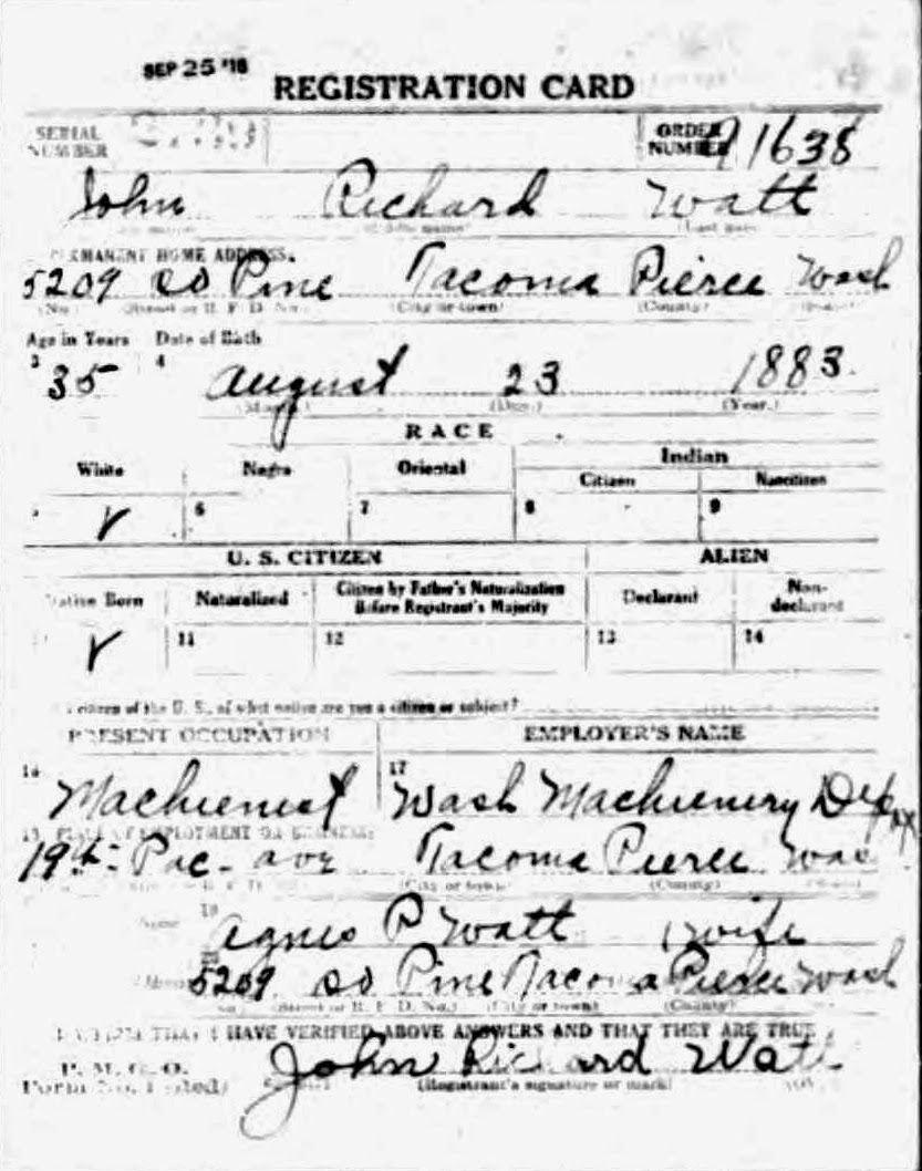 Military Monday: John Richard Watt's WWI Draft Registration