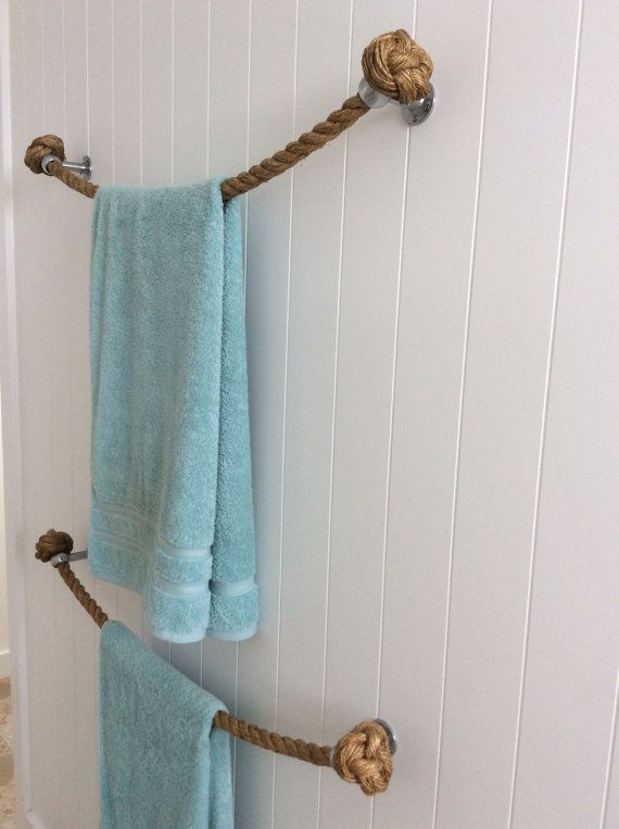 Rope Towel Holder Rail Handmade With Natural Manila Rope For