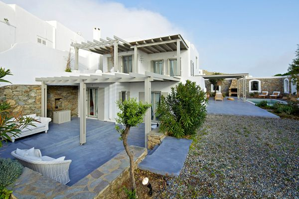 White and Modern House Design in Mykonos Island Greece Curb