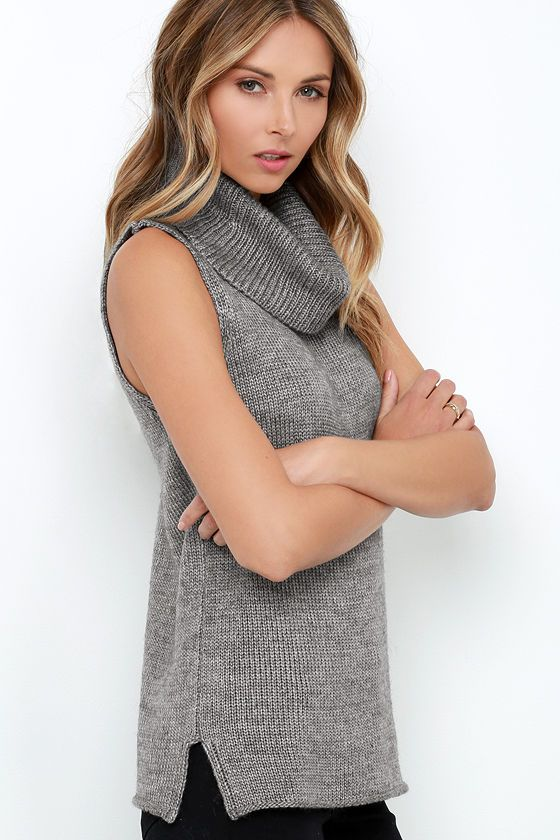 Warm-Hearted Grey Sleeveless Cowl Neck Sweater | Cowl neck, Gray ...