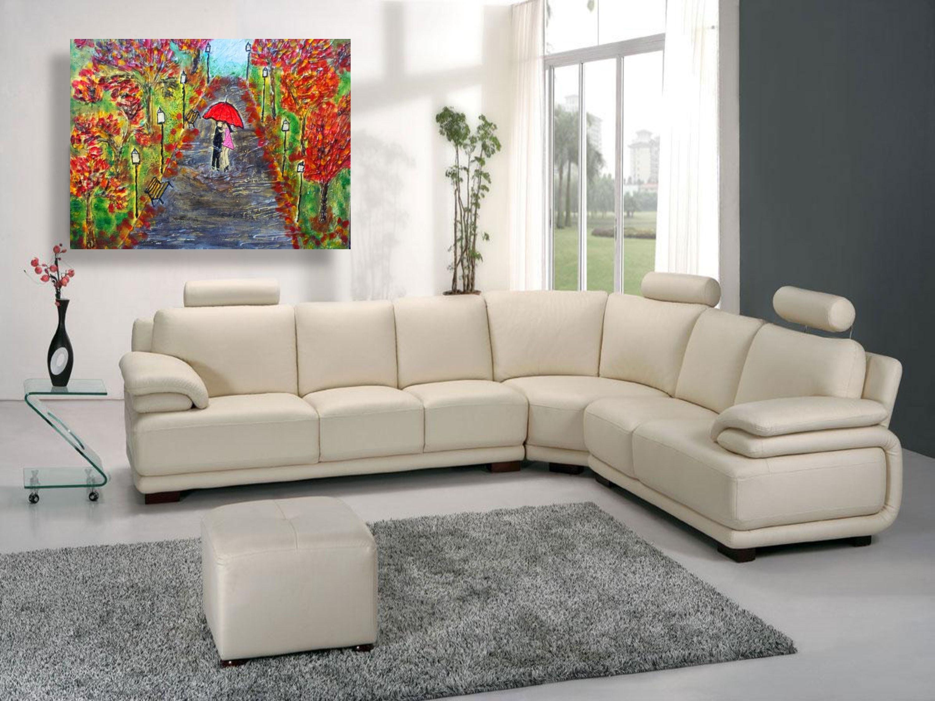Textured Art Painting Modern Leather Sectional Sofas Sectional Sofa With Recliner Sectional Sofa