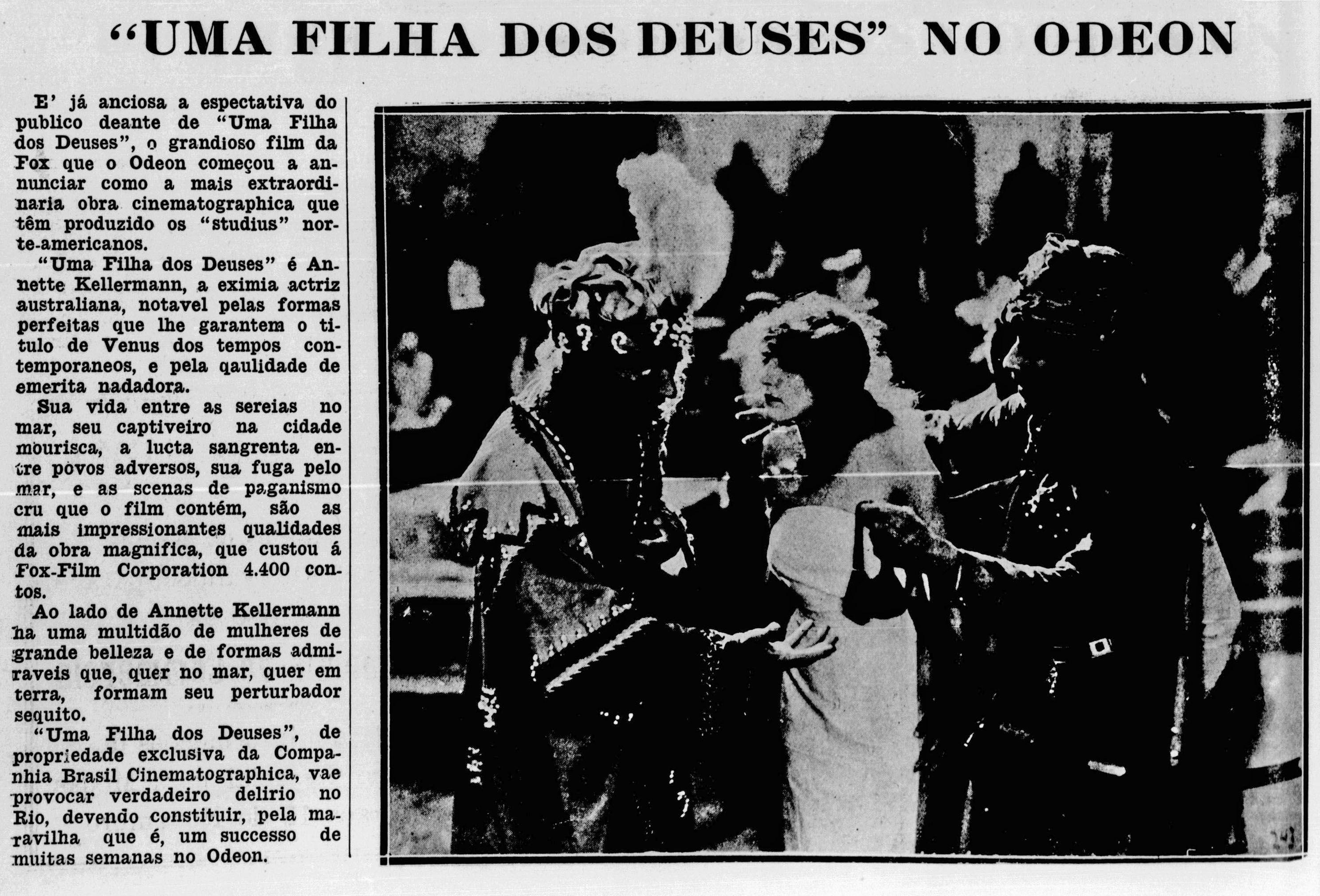 1916 - A DAUGHTER OF THE GODS - Herbert Brenon - (PALCOS E TELAS, May 16, 1918, Rio de Janeiro, Brazil)