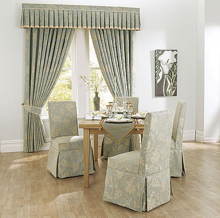 Charming Slipcovers For Dining Room Chairs With Patterned Fabrics Combined Impressive Window Treatmet In The Same Pattern Plus Wooden