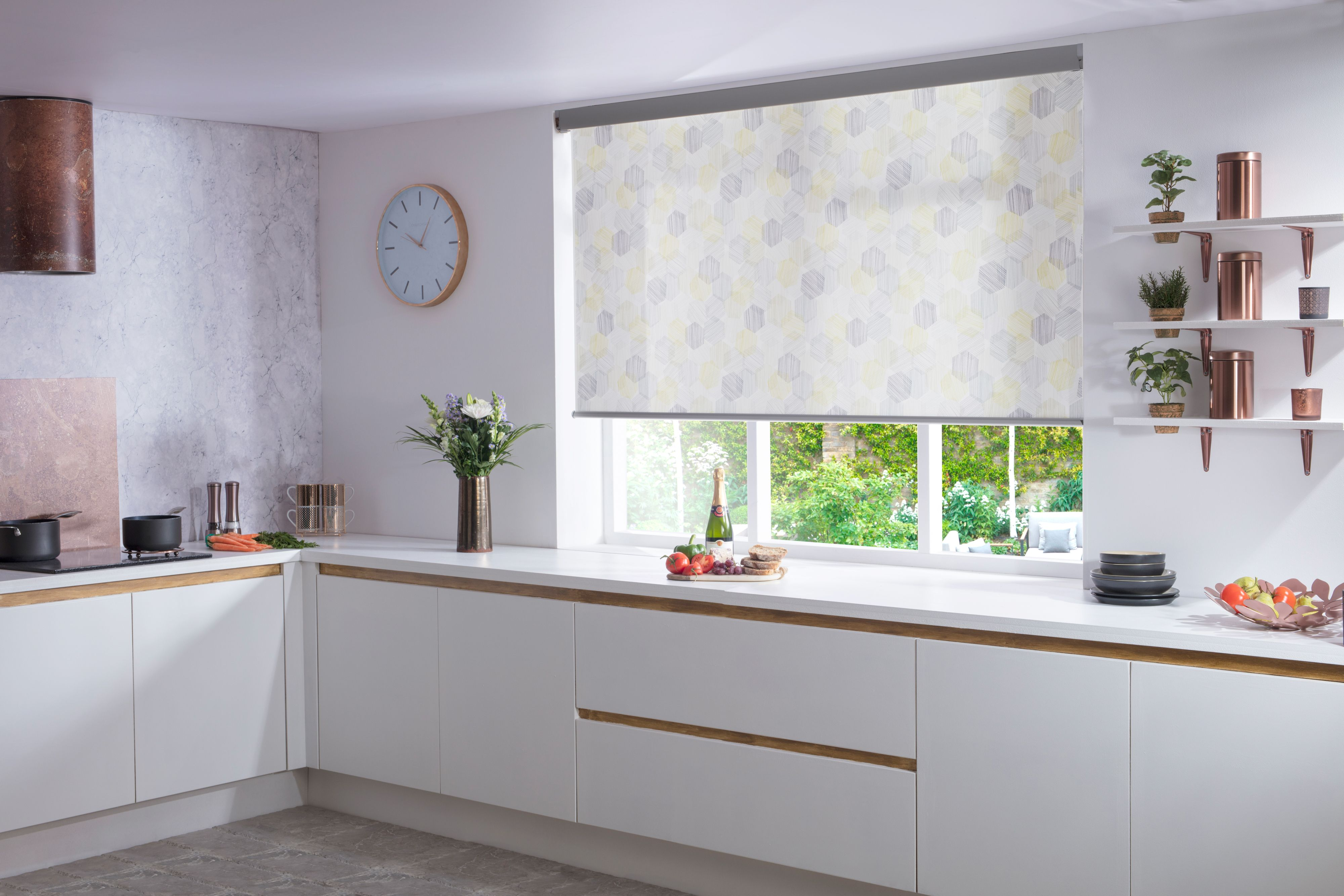 Hexagon yellow kitchen roller blind from Style Studio