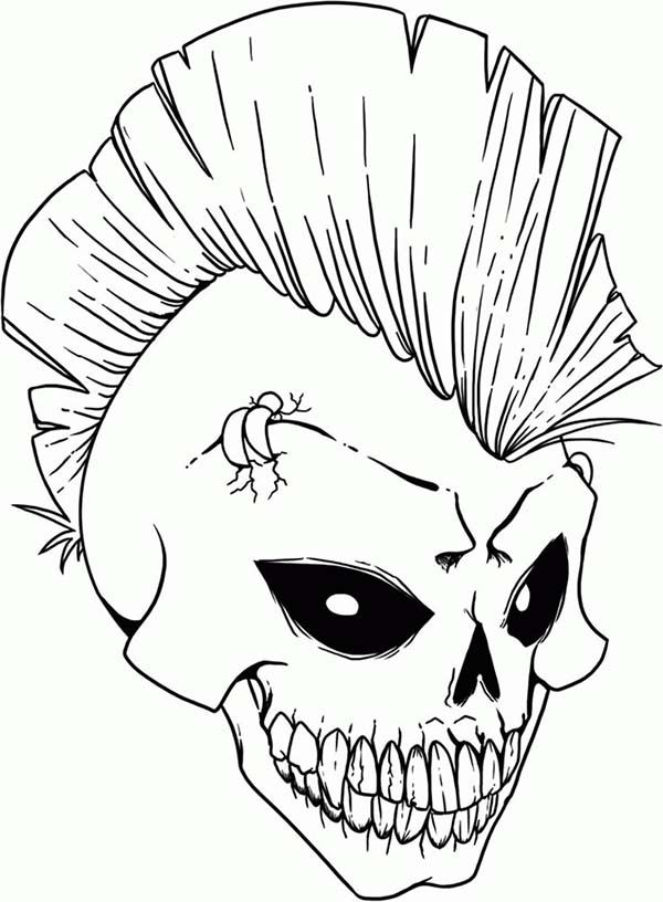 skull punk rock skull coloring page punk rock skull coloring pagefull size copic stencils