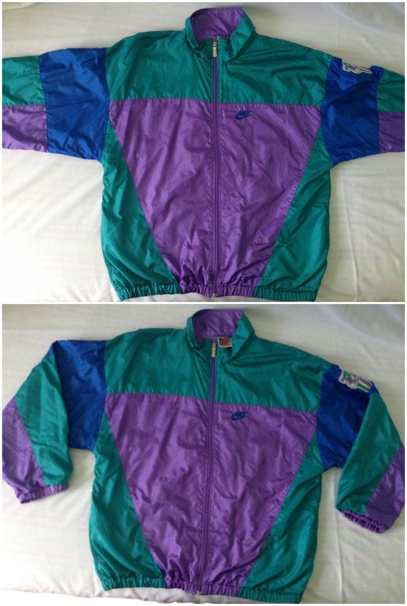 Details about 80s NIKE International Purple, Gold, White Windbreaker Full Zip Jacket Size Lrg