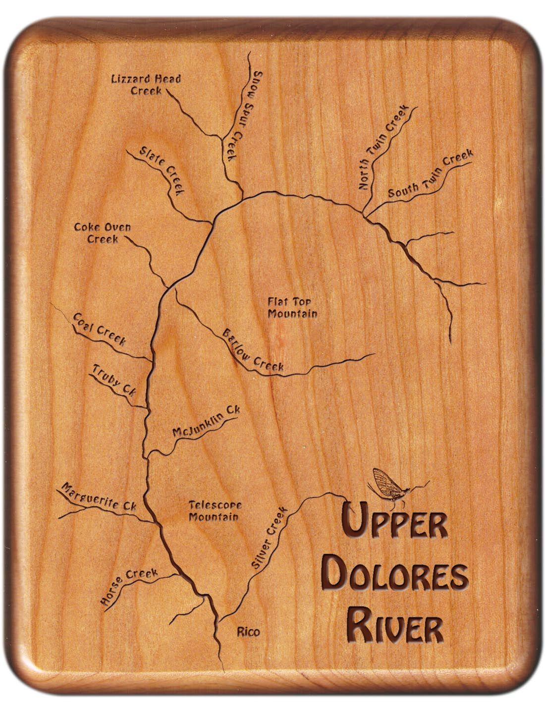 Dolores River Colorado Map.Upper Dolores River Map Fly Box Colorado Cherry Wood Colorado