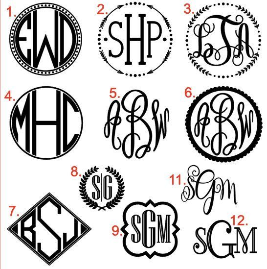 Monogram Vinyl Decal Perfect For Just About Any Smooth Surface - Vinyl decals for phone cases