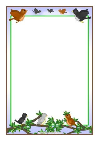 Birds A4 page borders (SB10168) - SparkleBox Рамки Pinterest