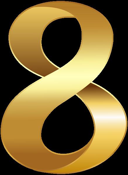 Golden Number Eight Transparent Png Clip Art Image Desain Gambar