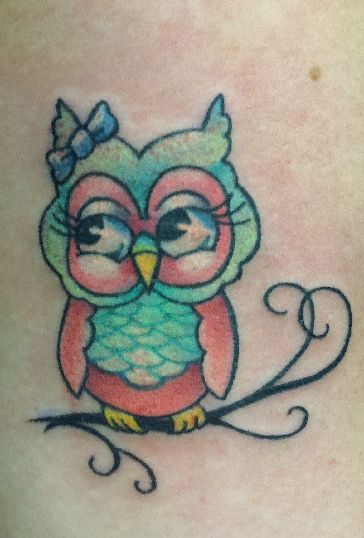 Little owl tattoo owls hoot pinterest tattoo owl tattoo cute girly owl tattoo that id like to get but with bright pinks and blues instead of the other colors it has voltagebd Image collections