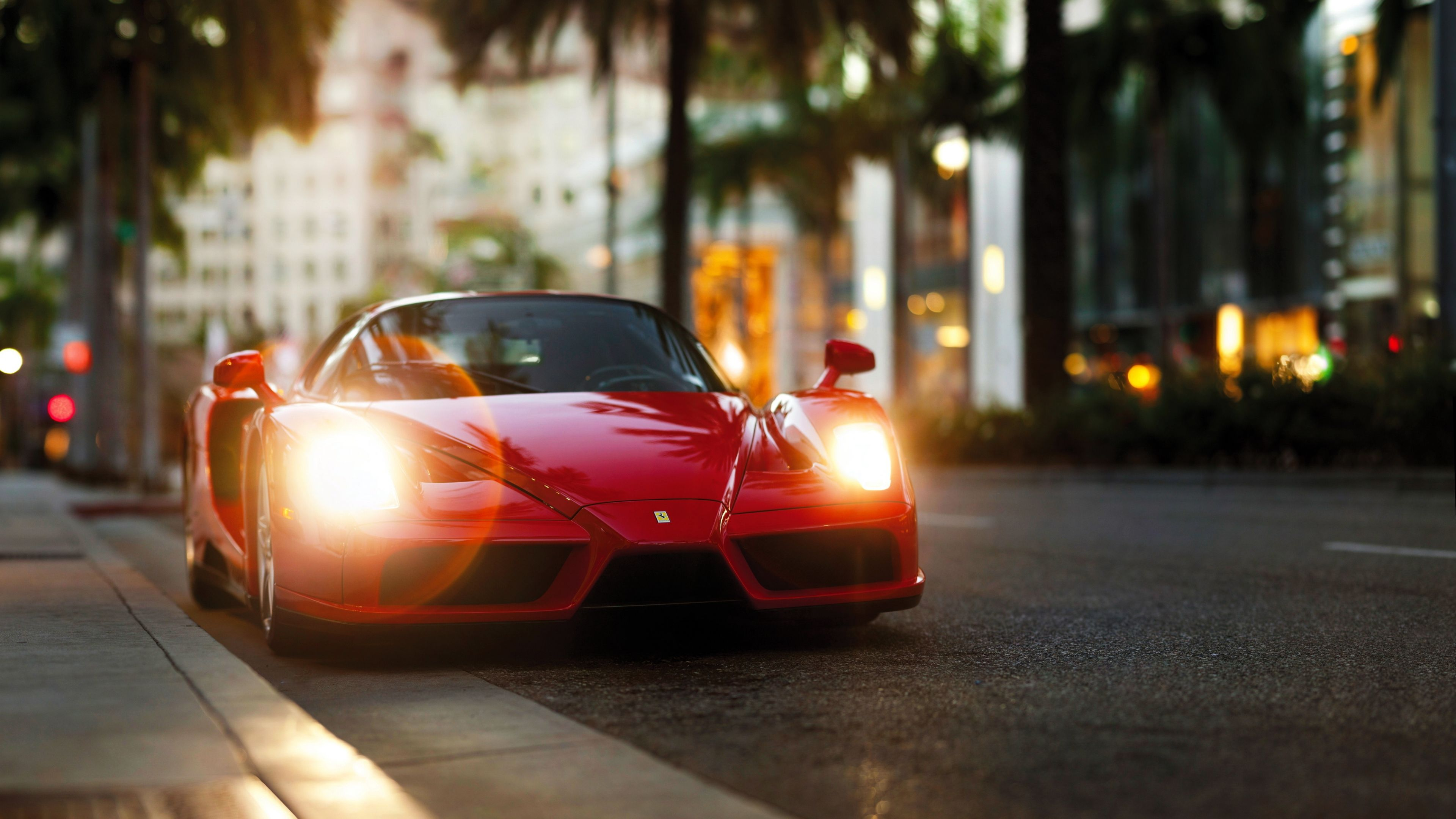 3840x2160 Wallpaper ferrari enzo, red, side view