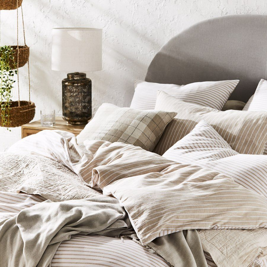 Introducing Our New Vintage Washed Linen Cotton A Blend Like Never Before Discover The Range For Yourself And Save 1 Quilt Cover Washed Linen Striped Quilt
