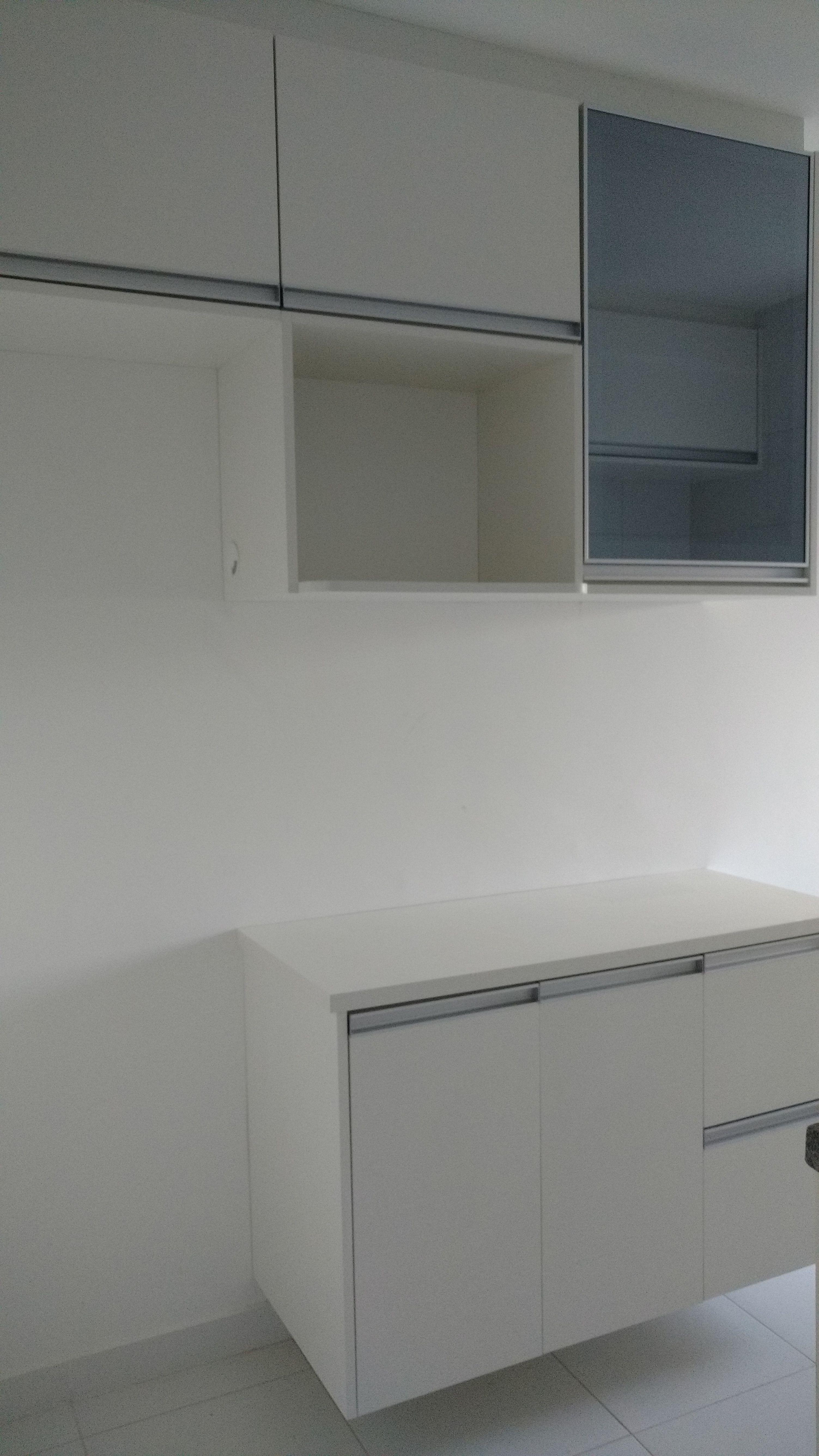Cozinha Branco Tx Puxadores Perfil Aluminio Porta Vidro Reflecta