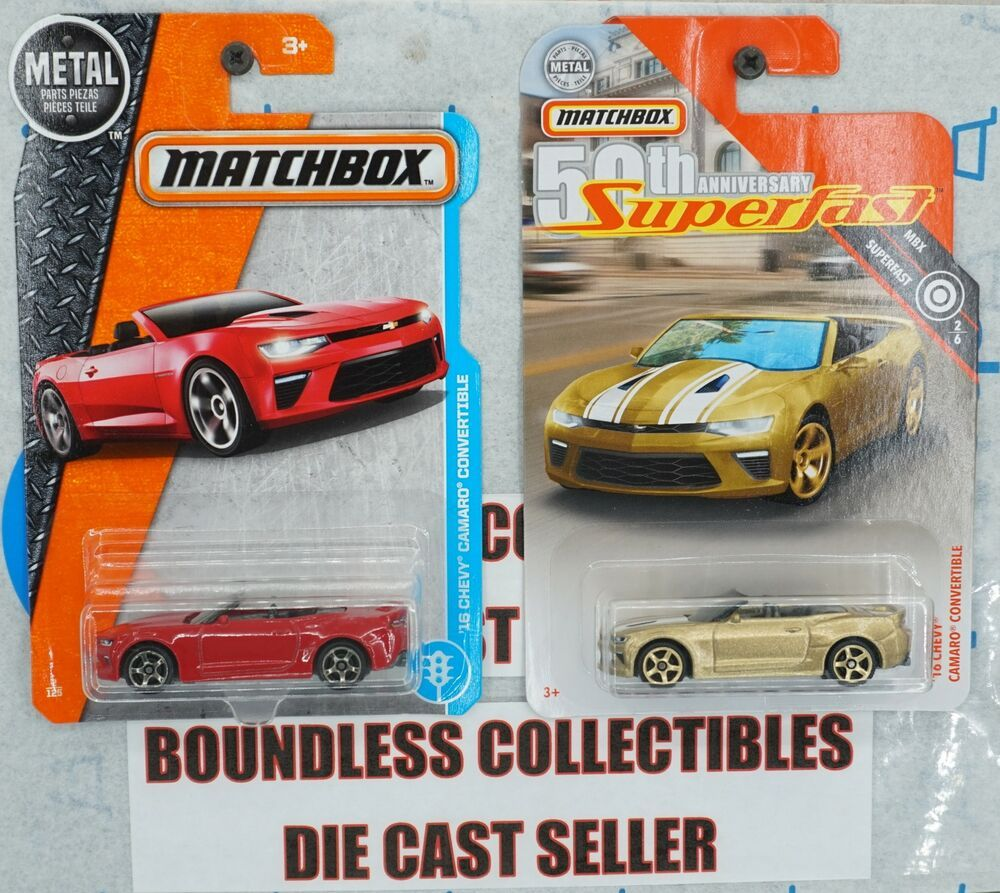 Matchbox Lot Of 2 Chevy Camaro Convertible Superfast Gold Red Mbx Adventure Matchbox Chevrolet Chevy Camaro Convertible Camaro Convertible Chevy Camaro