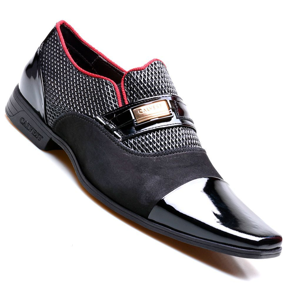 a0af26f7e7 Sapato Social Masculino Calvest Neapolis em Couro Verniz Preto com Detalhe  Vinho - 3180C485 - Sapatos CALVEST