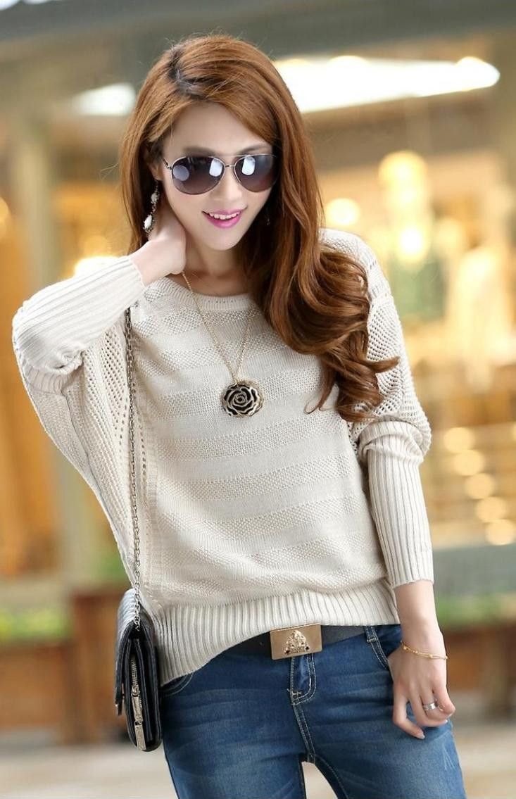 4ff9f9723b2a0 New Fashion Women Solid Hollow Bat Loose Outerwear Round Neck Long ...