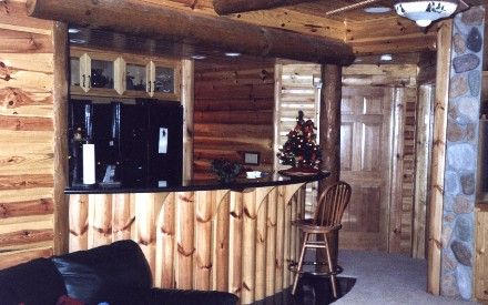 Log cabin bar ideas basements log cabin homes and for Log cabin with basement