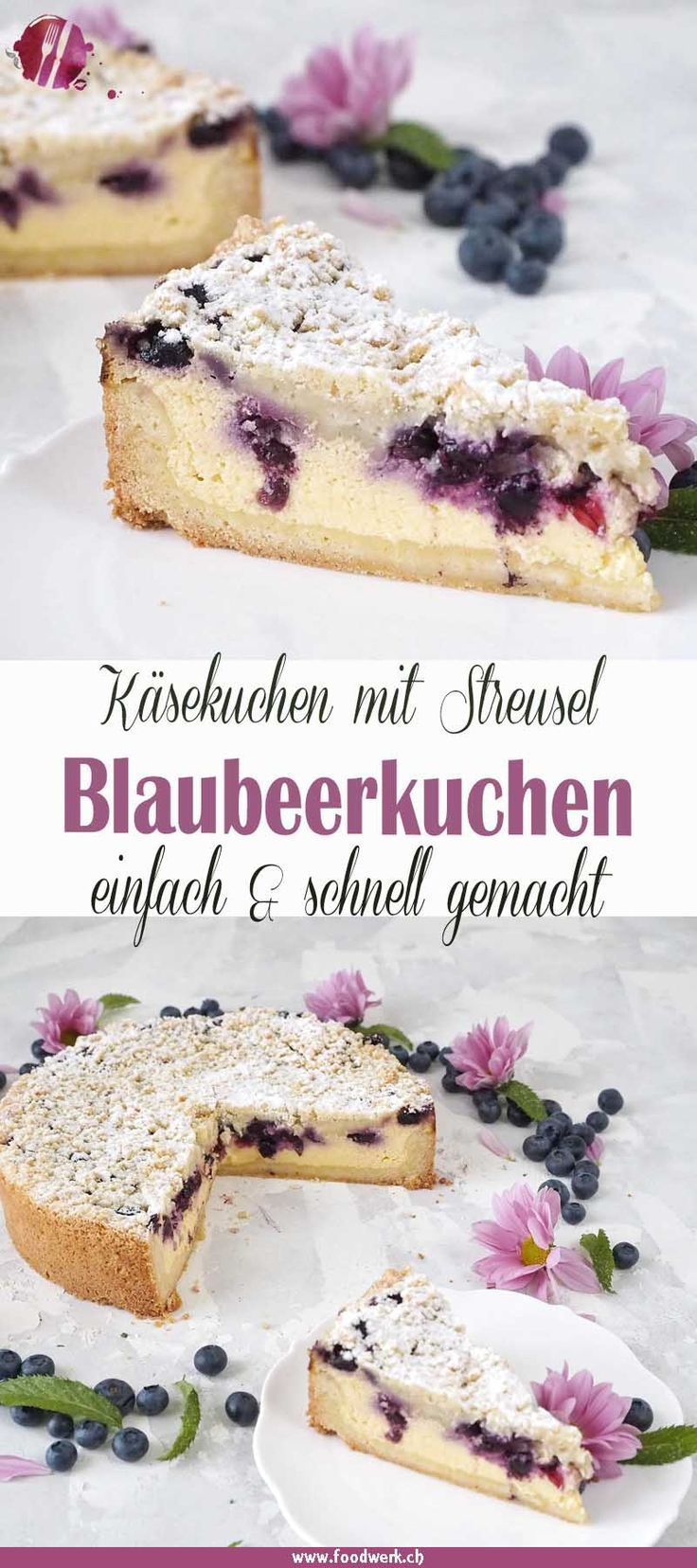 Photo of Best cheesecake: Grandma's baked quark cake with blueberries and sprinkles
