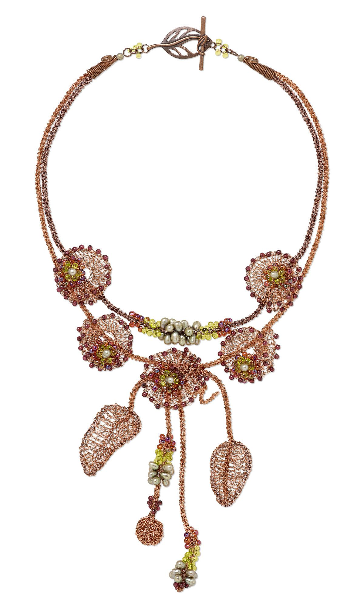 Jewelry Design - Double-Strand Necklace with Wirework, Seed Beads ...