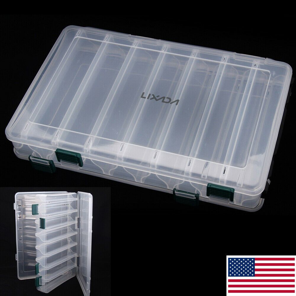 NEW Double Sided Fishing Lure Storage Tackle Case Drain Hole Fish Organizer Box