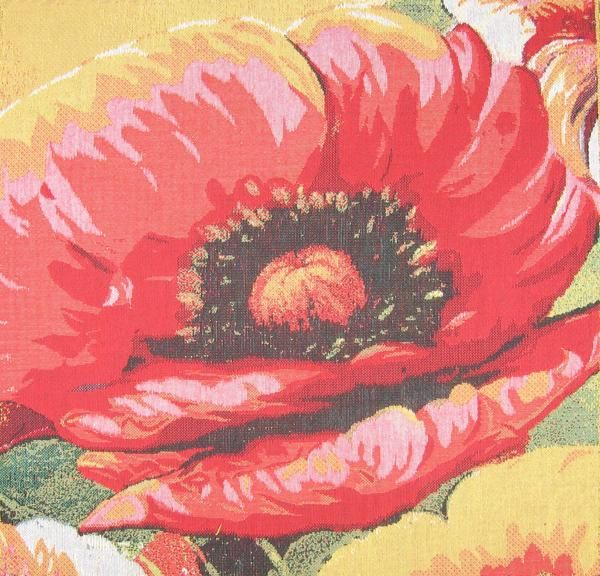 Poppies i cushion tapestry woven in belgium history poppies i belgian tapestry cushion cover features a beautifully painted red and black poppy flower up close mightylinksfo Images