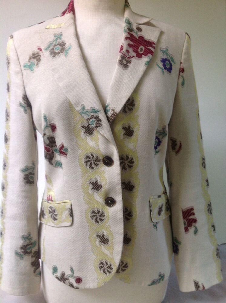 ETRO Milano Blazer Linen Blend Floral Size 40/6 Fancy Ornate Detail Jacket #Etro #Blazer