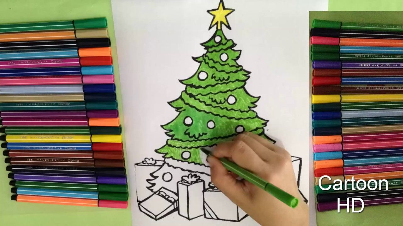 Colorful Christmas Background For Kids.We Wish You A Merry Christmas With Christmas Tree Coloring