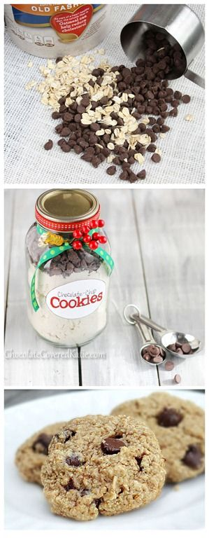 The foolproof recipe for homemade chocolate chip cookies in a jar that EVERYone loves.  http://chocolatecoveredkatie.com/2012/12/20/healthy-chocolate-chip-cookies-in-a-jar/